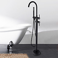 Antique Floor  Mounted Ceramic Valve Oil-rubbed Bronze Floor Standing   Bathtub Faucet