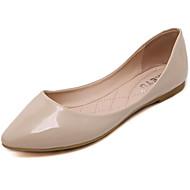 Damen Flache Schuhe Komfort Echtes Leder PU Frühling Sommer Normal Schwarz Rot Mandelfarben Flach