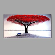 Hand-Painted Knife Red Tree Scenery Oil Painting Wall Art With Stretcher Frame Ready To Hang