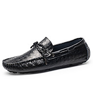 Unisex Boat Shoes Moccasin Nappa Leather Fall Winter Casual Office & Career Party & Evening Dress Moccasin Flat Heel Yellow Black Flat