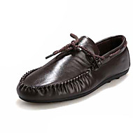 Men's Boat Shoes Light Soles PU Spring Summer Casual Lace-up Flat Heel White Black Brown Under 1in