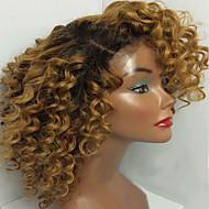 Női Emberi hajból készült parókák Emberi haj Csipke eleje Tüll homlokrész 130% Sűrűség Kinky Curly Paróka Fekete / Medium BROWN /
