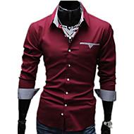 Erkeklerin Sade Günlük / İş / Resmi Pamuklu / Pamuk Karışımı Uzun Kollu Gömlek Siyah / Kırmızı / Beyaz