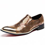Unissex Oxfords Sapatos formais Pele Napa Outono Inverno Casual Social Festas & Noite Aventura Sapatos formais Bico Metálico Dourado2,5 a
