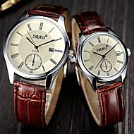 Men's Women's Dress Watch Fashion Watch Wrist watch Quartz Leather Band Brown