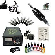 starter tetoválás készletek 1 x acél tetoválógép kontúrhoz és satírhoz LCD tápegység 5 x tetoválótű RL 3 komplett szett