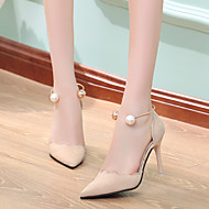 Women's Shoes PU Summer Basic Pump Heels Flat Heel Stiletto Heel For Casual Black Beige Red Blushing Pink