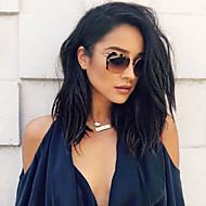 Naisten Aitohiusperuukit verkolla Aidot hiukset Lace Front Tiheys Laineikas Peruukki Jet Black Musta Tummanruskea Mediumt Browm Kastanjan