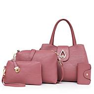 Mulher Bolsas Todas as Estações Couro Ecológico Conjuntos de saco com para Casual Azul Preto Vermelho Rosa Roxo