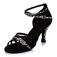 Feminino Latina Cetim Sandálias Saltos Interior Fivela Leopardo Vime Bloco de Cor Salto Agulha Preto 5 - 6,8 cm Personalizável