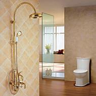 コンテンポラリー ぜいたく ゴージャス 高品質 壁式 レインシャワー 壁式 with  セラミックバルブ 3つのハンドル三穴 for  Ti-PVD , シャワー水栓