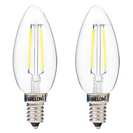 2W LED-hehkulamput C35 2 COB 200 lm Lämmin valkoinen Valkoinen Koristeltu AC 220-240 V 2 kpl