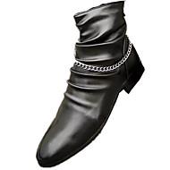 メンズ ブーツ コンフォートシューズ ファッションブーツ レザー カジュアル フラットヒール ブラック 1インチ以下