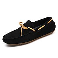 Férfi Vitorlás cipők Kényelmes Mokaszin Disznóbőr Ősz Tél Hétköznapi Lapos Fekete Szürke Sötétbarna Khakizöld Lapos