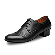 Men's Latin Outdoor Real Leather Heels Professional Black
