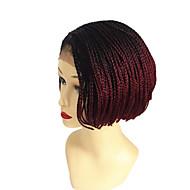 ミドル部分の縫い目 100%カネカロン髪 ナチュラルウィッグ 合成 フロントレース キャップレス ウィッグ ショート丈 ミディアム丈 ブラック/バーガンディ ブラック ヘア