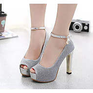 Women's Heels Comfort Basic Pump Spring Summer Real Leather PU Casual Silver Purple 4in-4 3/4in