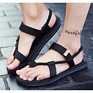 Miehet Sandaalit Comfort PU Kesä Kausaliteetti Musta Harmaa Ruskea Tasapohja