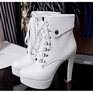 Damen Schuhe PU Herbst Komfort Stiefel Mit Für Normal Weiß Schwarz Mandelfarben