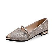 Dame Flate sko Komfort Lette såler Paljett Lakklær Vår Høst Avslappet Formell Rhinsten Paljett Flat hæl Gull Svart Sølv Flat