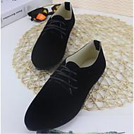 Feminino Sapatos Pele Real Couro Ecológico Primavera Verão Conforto Oxfords Para Casual Preto Cinzento Vermelho