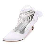 Feminino Sapatos De Casamento Conforto Plataforma Básica Cetim Primavera Verão Casamento Social Festas & NoitePedrarias Laço Pérolas