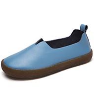 Naiset Mokkasiinit Comfort muodollinen Kengät Kevät Syksy Aitoa nahkaa Kausaliteetti Puku Juhlat Tasapohja Valkoinen Musta Ruskea Sininen