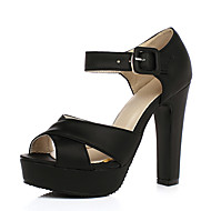 Women's Shoes PU Summer Comfort Heels Chunky Heel Peep Toe With For Casual Black Blushing Pink