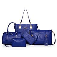 Mulher Bolsas Todas as Estações Couro Ecológico Conjuntos de saco com Ziper para Casual Azul Branco Preto Vermelho Fúcsia