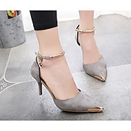 Women's Wedding Shoes Comfort Summer Suede Wedding Casual Black Gray Ruby 3in-3 3/4in