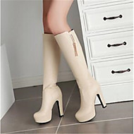 Women's Shoes PU Fall Comfort Boots With For Casual White Black Almond