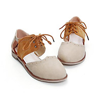 Women's Sandals Comfort Summer Real Leather PU Casual Beige Almond Flat