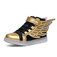 Boys' Sneakers Light Up Shoes Synthetic Microfiber PU Fall Winter Casual Magic Tape Flat Heel Black/Gold White Flat