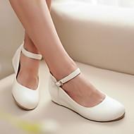 Feminino Sapatos Couro Ecológico Verão Conforto Saltos Anabela Ponta Redonda Com Para Casual Branco Verde Rosa claro