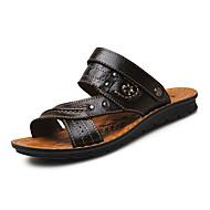 Miehet Sandaalit Comfort PU Kesä Ulkoilu Tasapohja Musta Ruskea Khaki Alle 1in