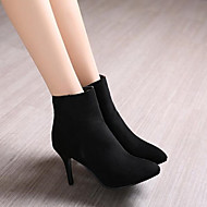 Women's Shoes PU Fall Winter Comfort Heels Stiletto Heel Pointed Toe With For Casual Black Gray Blue