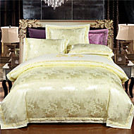Pussilakanasetti setit Geometrinen 4 osainen Silk/Cotton Blend Jakardi Silk/Cotton Blend 4kpl (1 päiväpeite, 1 lakana, 2 tyynyliinaa)