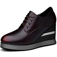 Feminino Sapatos Pele Primavera Outono Conforto Oxfords Com Para Casual Preto Vinho