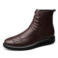 Herre Støvler Trendy støvler Høst Vinter Egte Lær Avslappet Snøring Flat hæl Svart Mørkebrun Flat