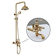 ぜいたく ゴージャス クラシック 壁式 レインシャワー ハンドシャワーは含まれている with  セラミックバルブ Ti-PVD , シャワー水栓