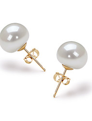14k Gold White 9.5 - 10mm AAA Freshwater Pearl Earring