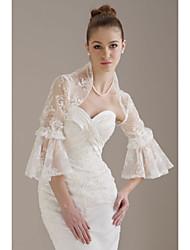 3/4-length pizzo sleevestulle giacca da sposa / wrap nozze (wsm0400)