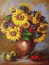 Stretched Handmade Floral Painting - Free Shipping (0192-YCF101956)