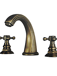 Widespread Two Handles Three Holes in Antique Brass Bathroom Sink Faucet