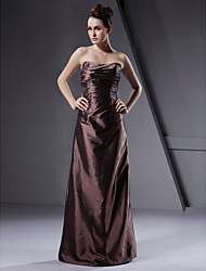 A-Line Princess Sheath / Column Strapless Floor Length Taffeta Bridesmaid Dress with Ruching by LAN TING BRIDE®