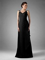 LAN TING BRIDE Sheath / Column Plus Size Petite Mother of the Bride Dress - Little Black Dress Floor-length Sleeveless Chiffon with