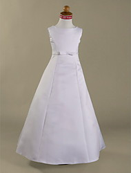 A-Line Princess Floor Length Flower Girl Dress - Satin Sleeveless Jewel Neck with Ribbon by LAN TING BRIDE®