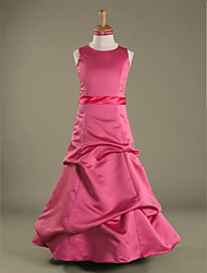 Lanting Bride® Floor-length Satin Junior Bridesmaid Dress A-line / Princess Jewel Natural with Pick Up Skirt / Sash / Ribbon