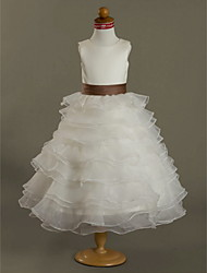 LAN TING BRIDE Ball Gown Tea-length Flower Girl Dress - Organza Satin Jewel with Sash / Ribbon Ruffles