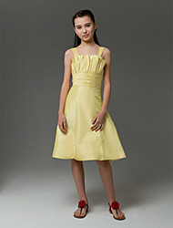 Lanting Bride® Knee-length Taffeta Junior Bridesmaid Dress A-line / Princess Straps Natural with Crystal Detailing / Ruching